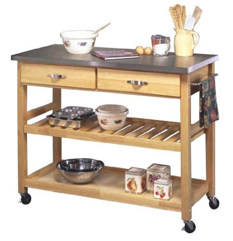kitchen island cart stainless steel top rolling kitchen island with stainless steel top