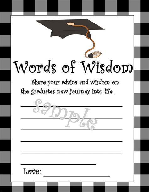 word graduation advice card template graduation words of wisdom cards diy printable