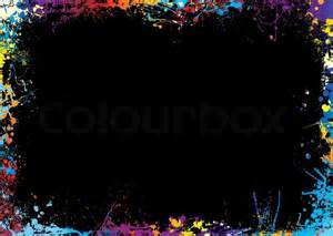 Black background with a rainbow ink splat border stock vector colourbox