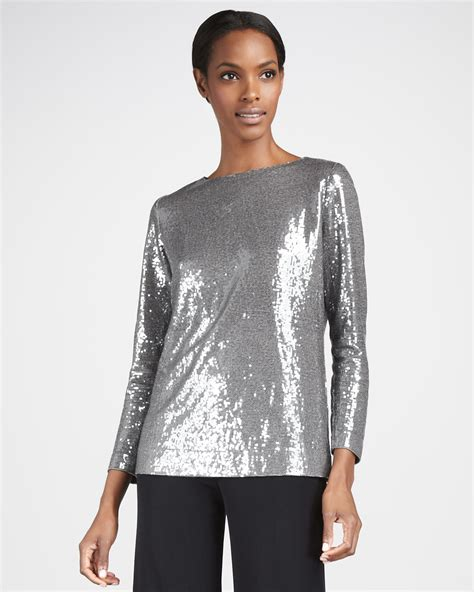 Misook Womens Sequined Top in Metallic   Lyst