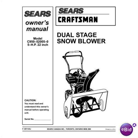 Sears Craftsman Snow Thrower Manual Model C950 52005 0 On