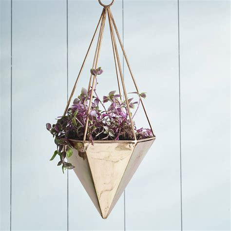 geometric hanging planter copper geometric hanging planter by garden trading notonthehighstreet