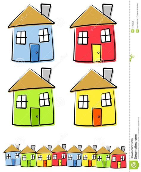 Adobe House Plans Kinderlijke Tekeningen Van Huizen Vector Illustratie