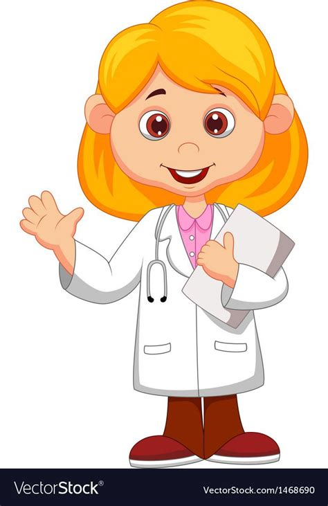 cute  female doctor cartoon waving hand vector image