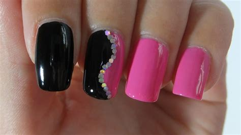 easy nail art black and pink easy black and pink nail design nail art tutorial youtube