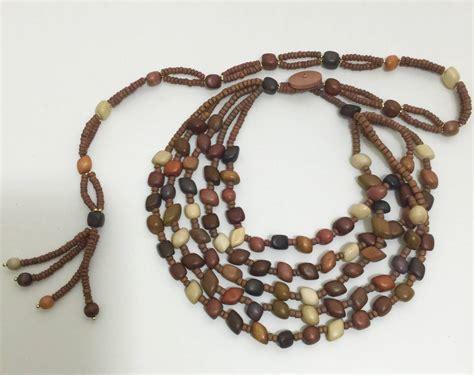 wood bead tassel necklace vintage wood bead and tassel belt and necklace at 1stdibs
