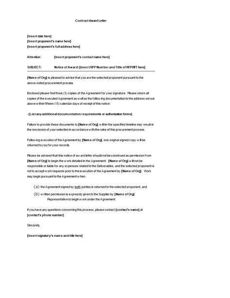 Contract Award Letter template | Templates at
