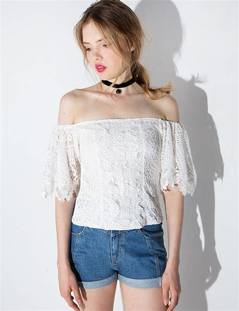 Light Duvet For Summer Top Summer Cute White Lace Off The Shoulder Cute Top