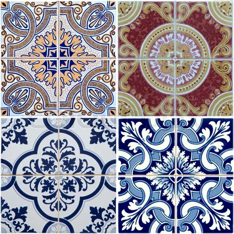 colorful vintage ceramic tiles wall decoration stock