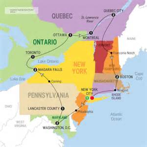 map of east america 14 day east coast america to canada with niagara falls uk