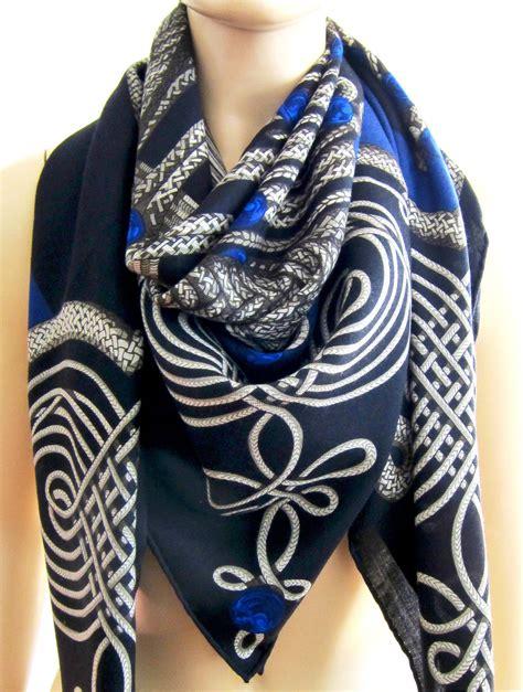 Hermes Satin Shawl hermes brandebourgs black blue silk shawl gm