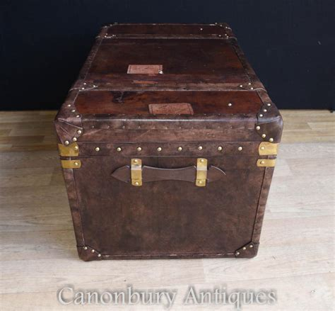 Leather Steamer Trunk Luggage Case Side Table Coffee Leather Steamer Trunk Coffee Table