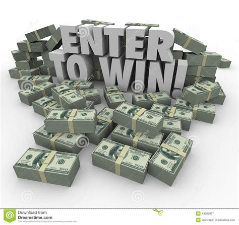 Money Winning - enter to win 3d words cash money stacks contest raffle lottery stock illustration