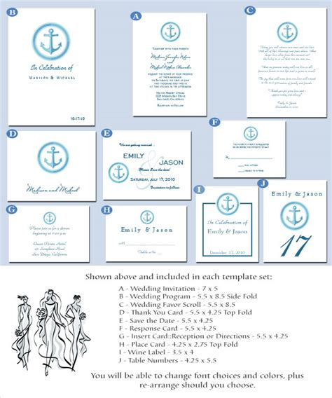 nautical wedding invitations printable diy templates