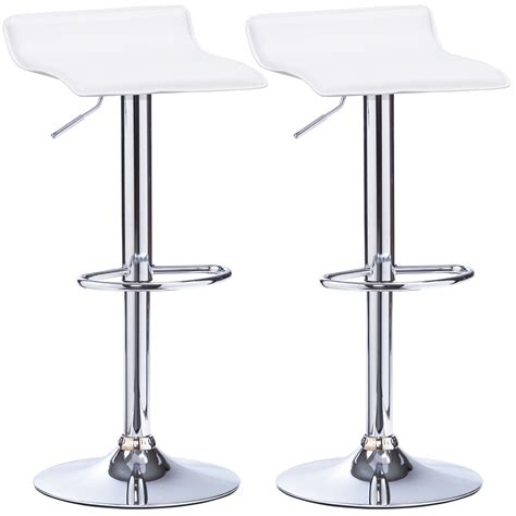 White Leather And Chrome Bar Stools by 1 2 X Bar Stools Faux Leather Kitchen Chrome Stool