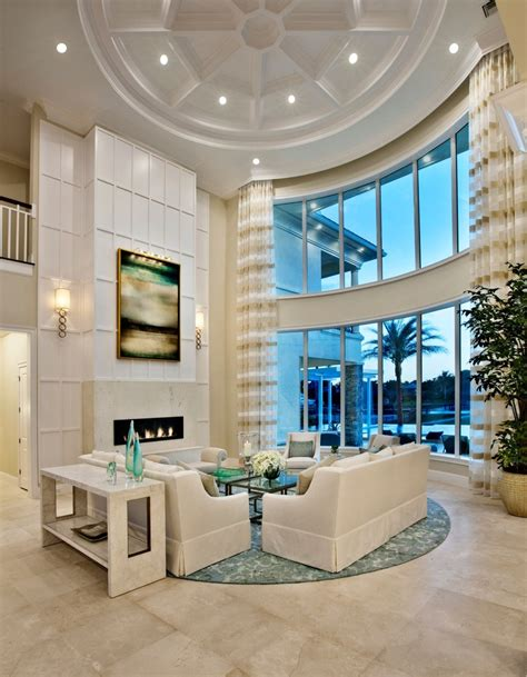 Curtains High Ceiling Decorating Beautiful Turquoise Rug Method Miami Tropical Living Room Image Ideas With Beige Sofa Beige