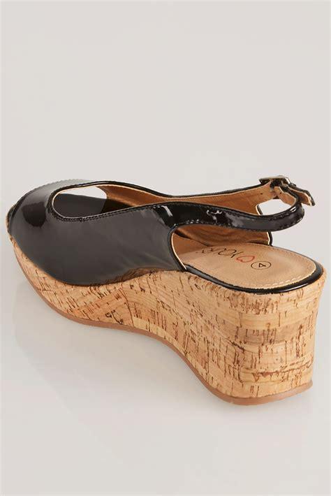 Best Seller Wedges T 1 3 8 Hitam Berkualitas Bagus black patent peep toe cork wedge sandal in eee fit size 4eee 5eee 6eee 7eee 8eee 9eee 10eee