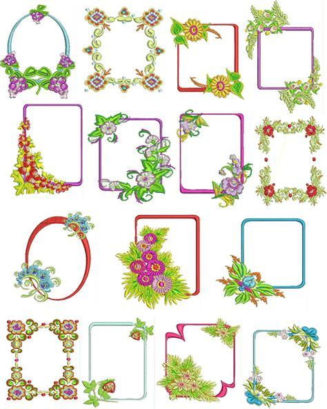 design frame pattern floral flower frames machine embroidery designs free font