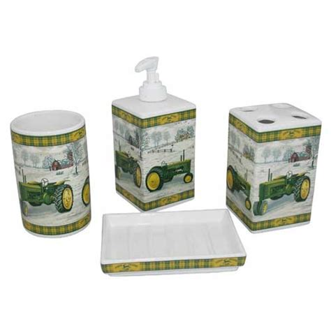 john deere antique ceramic bath set