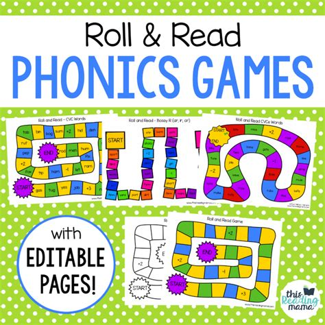 printable board games for phonics roll and read phonics games this reading mama