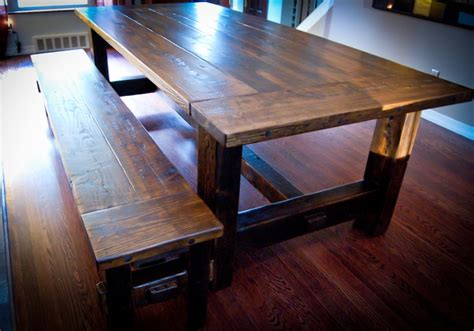 mortise and tenon bench reclaimed barn wood rustic dining table and bench built with pinned mortise and tenon