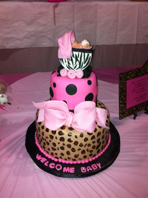 Leopard Baby Shower Cakes by Leopard And Zebra Print Baby Shower Cake Baby Shower
