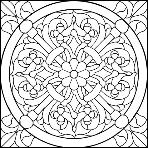 free coloring pages of stained glass rose