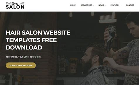 Free Download Html5 Css3 Website Template For Men S Hair Salon Sites Hair Salon Website Templates Free