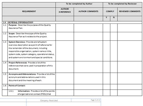 quality plan template exle quality templates project management templates