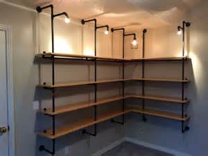 Lighted pipe supported shelves 10 steps with pictures