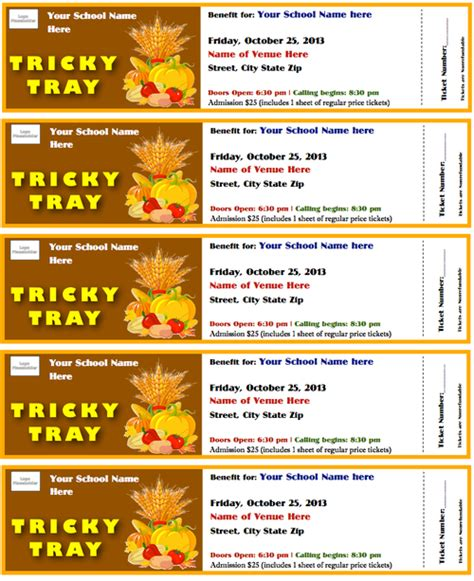 ticket template for apple pages tricky tray tickets template fall theme card stock