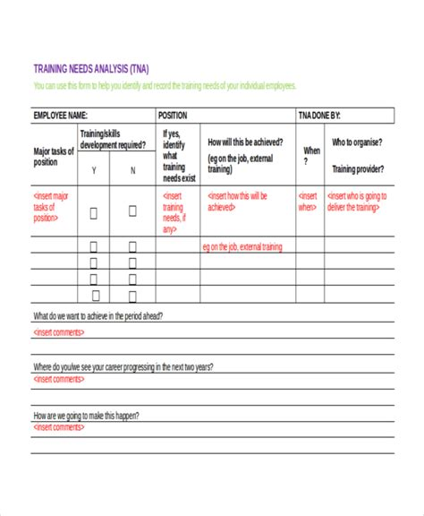 training needs analysis template 11 free word pdf