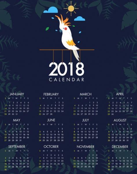 adobe illustrator calendar template 2018 free 2018 calendar template parrot icon plants vignette