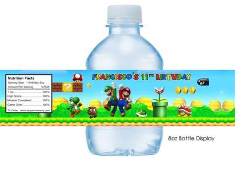 Bros Label Pin Tuspin 2 In 1 Kalung Kode Okto 20d mario bros water bottle label favor ideas bottle
