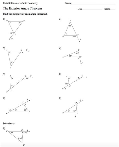 Exterior Angles Worksheet by Geometry Mrs Murk S Math Class