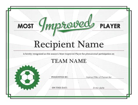 most improved certificate template most improved player award certificate