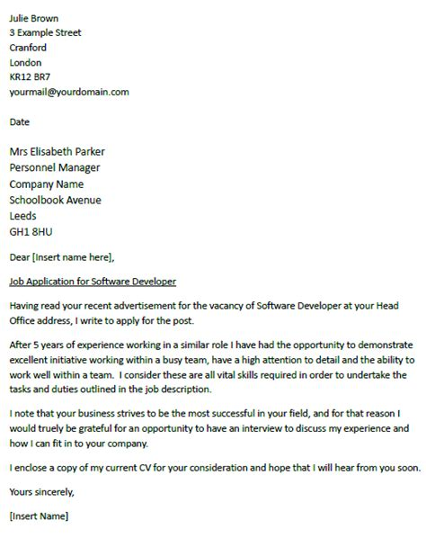 developer cover letter cover letter for a software developer icover org uk