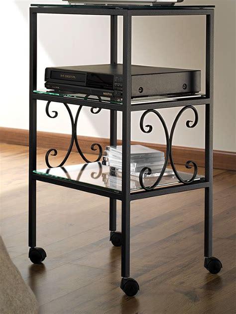 porta tv in ferro battuto ritz porta tv in ferro con 3 ripiani in vetro in