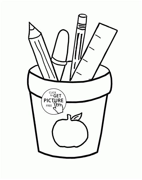 school supplies coloring pages printables cartoon school