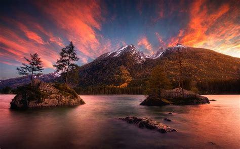 nature landscape sunset mountain forest island lake