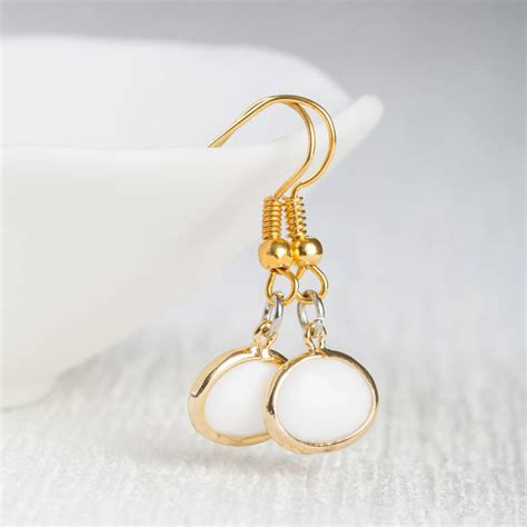 white opal earrings white opal gold earrings by cottons handmade