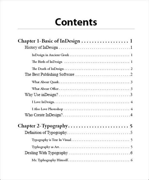 table of contents template indesign how to design a table of contents search table