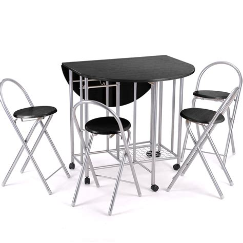 Folding Kitchen Table Set 5pc Kitchen Dinette Dinning Folding Table And Chairs Set Black
