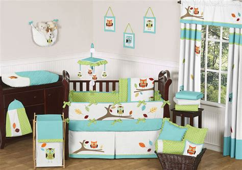 nursery bedding sets unisex modern owl tree theme unisex boy baby crib bedding set sweet jojo designs ebay