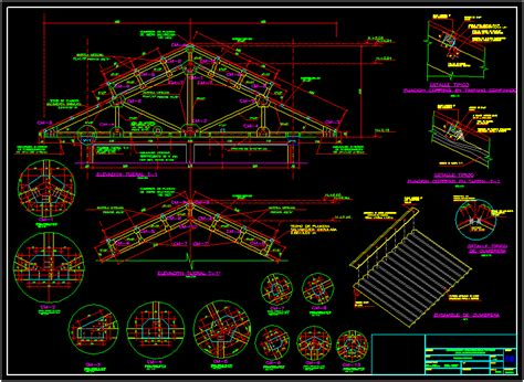 detail  roof structure  wood dwg detail  autocad