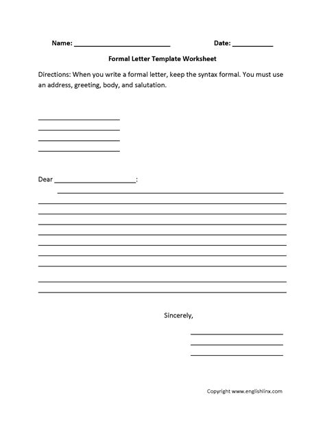 Formal Letter Format Grade 5 Letter Writing Worksheets Formal Letter Writing Worksheets
