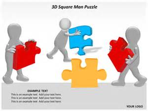 3d square man puzzle powerpoint templates and backgrounds