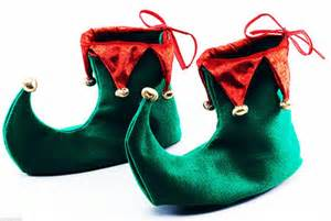 deluxe green and red elf jester pixie shoes boots