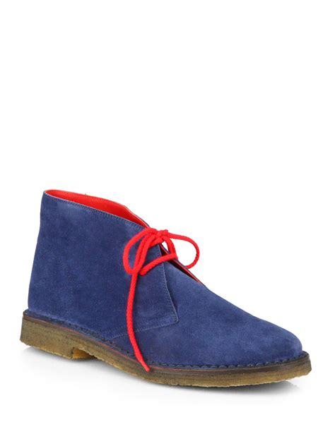 Suede Flat Shoes Polos lyst polo ralph michael suede desert boots in blue for