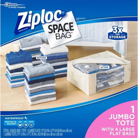 ziploc large plastic 4 large flat bags 1 underbed tote